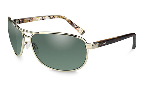 Polarized Smoke Green Lens/Gold w/ Brown Temples (Marble)