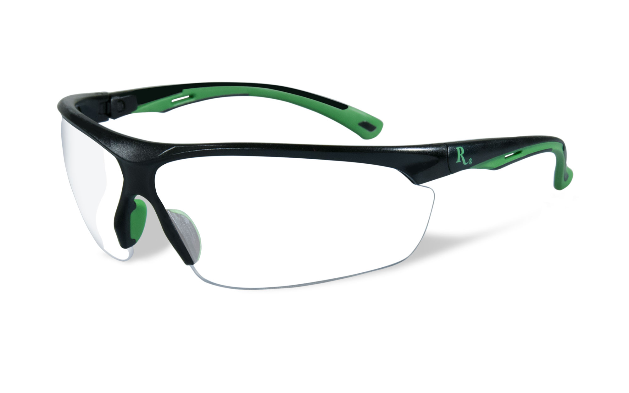 Matte Black with Green Frame / Clear Lens