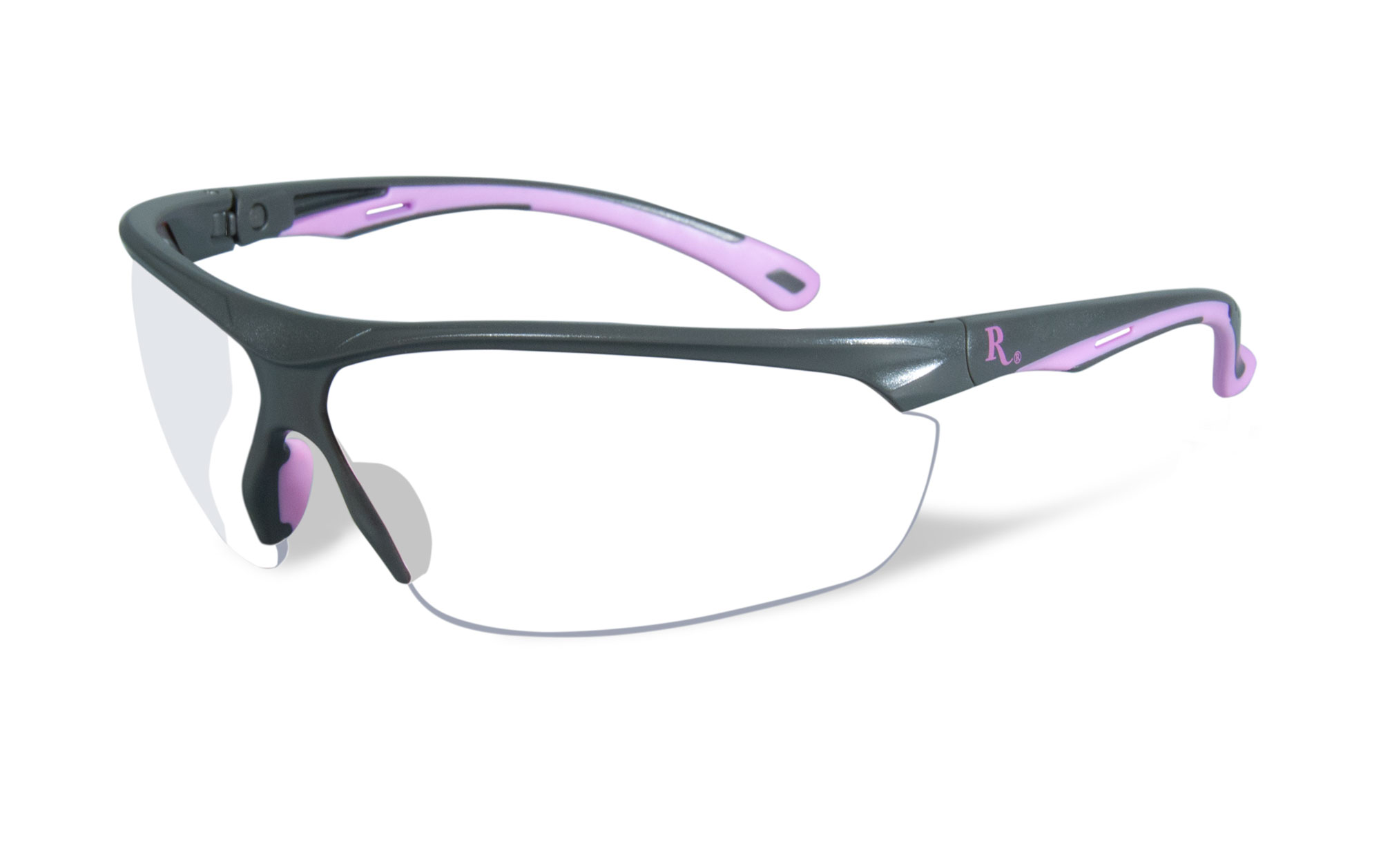 Matte Grey with Pink Frame / Clear Lens