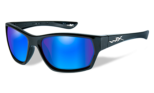 Polarized Lens Blue Mirror (Green)/Gloss Black